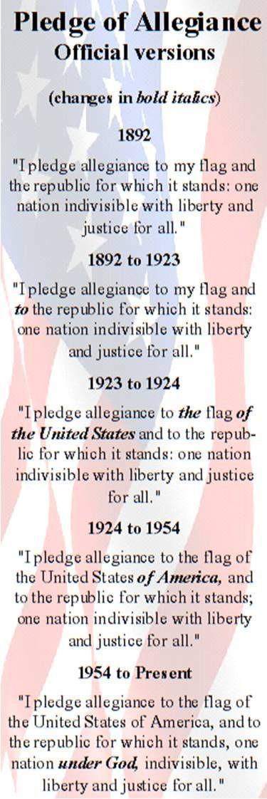 Pledge of Allegiance - http://en.wikipedia.org/wiki/United_States_Flag_Code