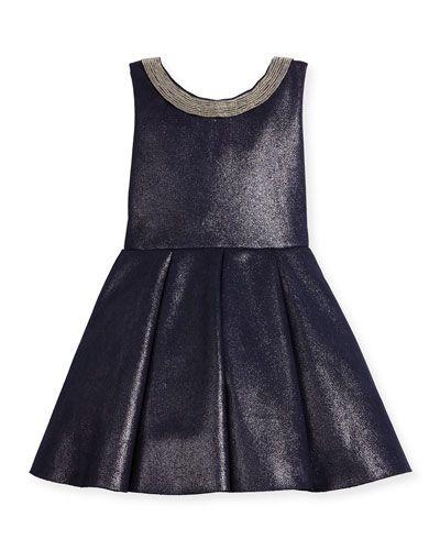 -6TSH Zoe  Sleeveless Pleated Metallic Ponte Dress, Twilight Navy, Size 2-6