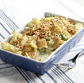 {baked campanelle with goat cheese + broccoli} make a quick roux + throw in the oven for 15 minutes. great weeknight dinner.