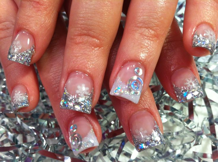 Elegant Bling Bling Nail Art Design Idea In French Nail Style With Silver  Glitter And White Snowflakes Ornaments Idea - Pretty Nail Designs - Best 25+ Cute Acrylic Nail Designs Ideas On Pinterest Simple