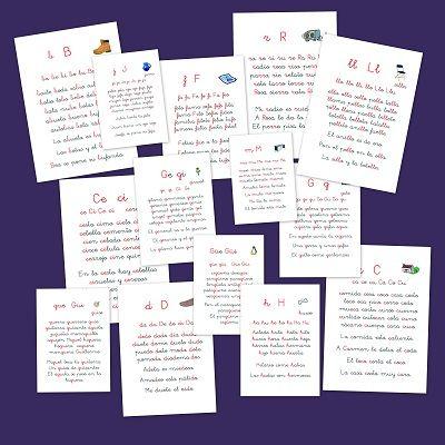 Cartilla de lectura con las consonantes