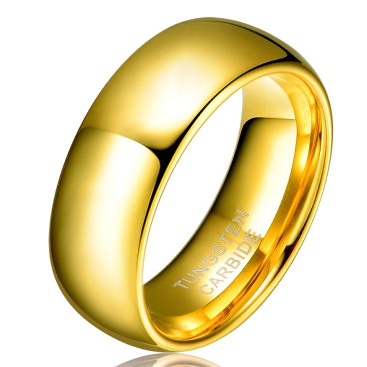"""גברים נשים 8 מ""""מ מצופה זהב מתנת האהבה של ברית tungsten חתונת אירוסין בנד טבעות לא גודל אבן 4-15 tu003r"""