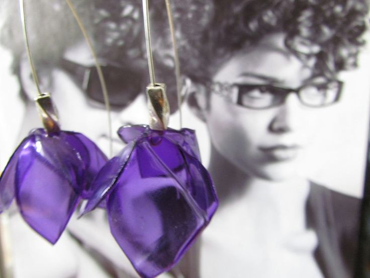 Purple violet dangle earrings Eco friendly jewelry Upcycled PET bottles Recycled plastic Flower Unique One of a kind OOAK Gift for her by ekoista on Etsy