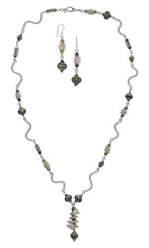 Single-Strand Necklace and Earring Set with Wirework and Lampworked Glass Beads