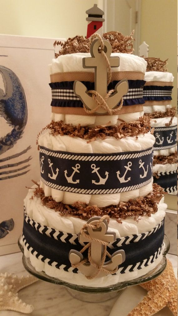 Nautical Diaper Cake with Burlap and Denim by ItsUpInTheAttic