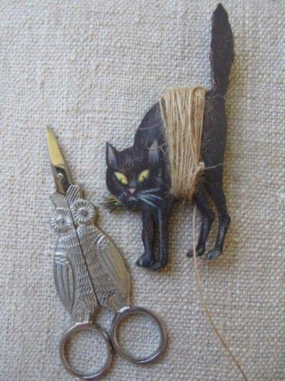 Owl sewing scissors and black cat thread spool