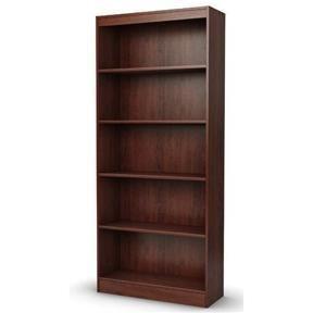 Five Shelf Eco-Friendly Bookcase in Royal Cherry Finish