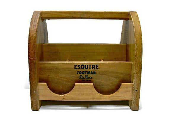 Wood Shoe Shine Caddy Vintage Esquire Footman Deluxe Wooden