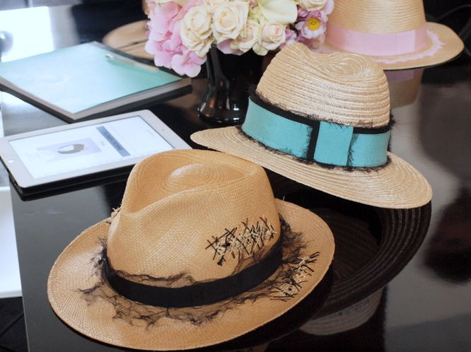 Maison Michel hats summer 2014.png --- I want the one with the blue band!