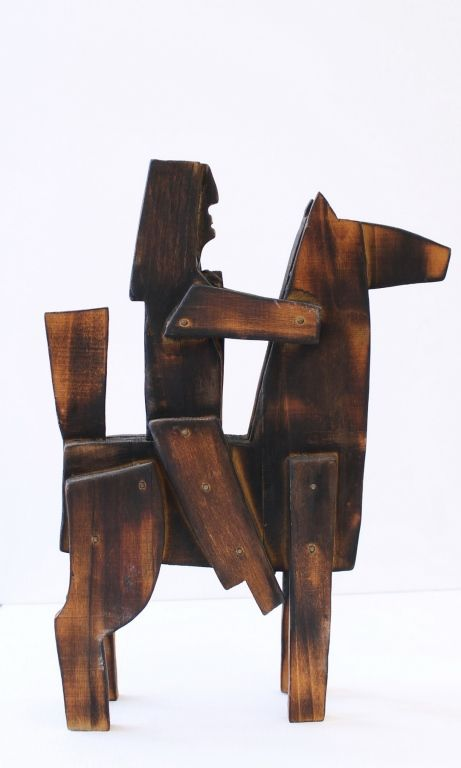 Percz János (1920 - 2000) Lovas vitéz fa 33,5 x 24 x 6 cm 2016/36