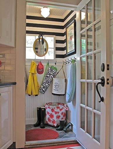 mudroomIdeas, Beads Boards, Mudroom, Stripes Wall, Black And White, Mud Rooms, Laundry Rooms, Striped Walls, Small Spaces