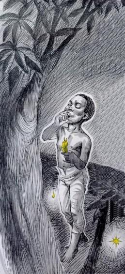 Recorrendo a sua Santa, o Negrinho do Pastoreio partiu em busca dos cavalos com uma vela na mão. Conforme a cera da vela derretia, os pingos que caíam no chão iluminavam seu caminho.