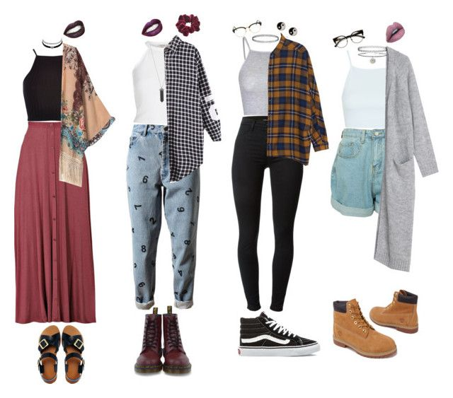 """Grunge Outfits"" by stellaluna899 ❤ liked on Polyvore featuring Topshop, Glamorous, J Brand, Monki, Vans, Timberland, Sunday Somewhere, INDIE HAIR, Ashish and River Island"