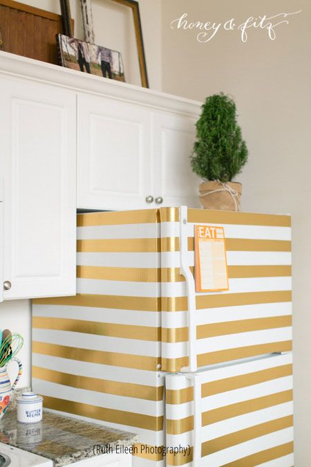 perfect for the office fridge!  (Honey-and-Fitz-Ruth-Eileen-Loft-Gold-Duct-Tape-Striped-Fridge)