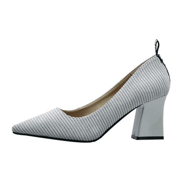 Chunky Heel Pointed Toe Stripes Pumps (110 BRL) ❤ liked on Polyvore featuring shoes, pumps, wide heel shoes, grey shoes, gray shoes, pointed toe shoes and wide heel pumps