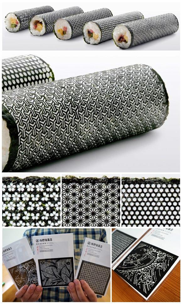 Lasercut nori for designer sushi developed by creative agency I BBDO for the umino seaweed shop