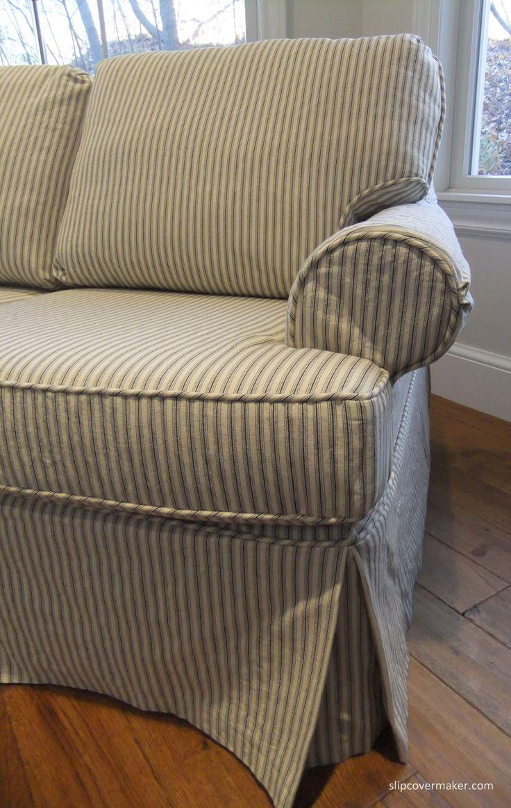 Sleeper Sofa With Custom Slipcover In Cotton Ticking