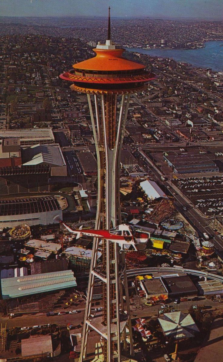 space needle in 1962 with its original color, painted for the world's fair; seattle, washington