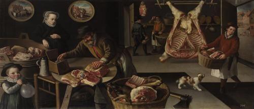 Jean Baptist de Saive, Meat Market (November-December) 1590 oil on canvas 111 x 213.5 cm Frame dimensions: 125 x 227.5 x 6 cm  Kunsthistorisches Museum Vienna, Gemäldegalerie Inv GG_7628