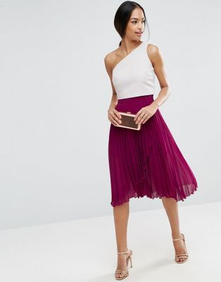 ASOS Pleated Midi Skirt with Wrap Front Detail