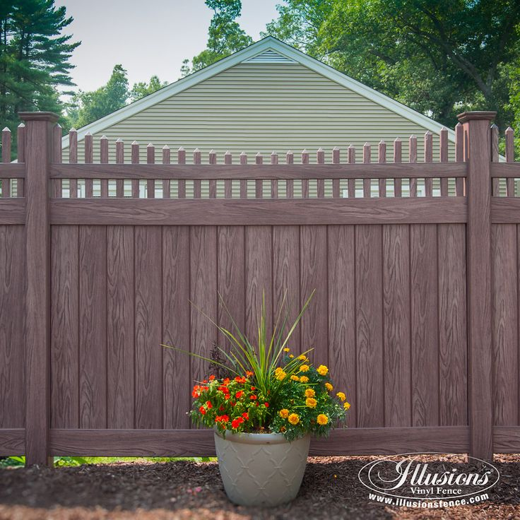 vinyl pvc wood grain privacy fencing panels with scalloped picket topper in walnut by illusions vinyl fence are a great fence idea for your home