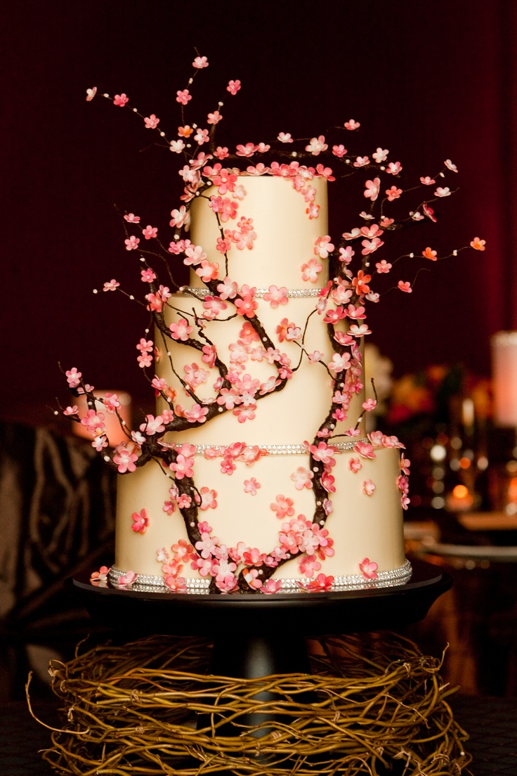 Pink cherry blossom cake.....if we ever have that destination second wedding.....