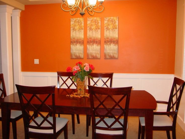 Decorating : Red Dining Room Accent Red Orange Accent Wall Dining Room With  Wood Furniture Orange Dining Room Accent Walls Design Ideas Designer Wall  ...