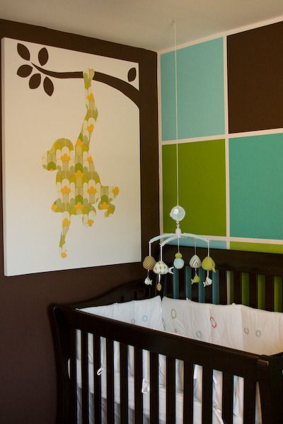 Shades of #green and #turquoise are great complements in this #brown #nursery.