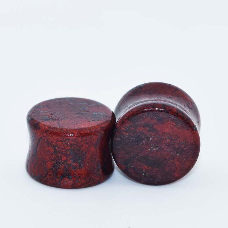 1 Pair Anti-allergic Ear Expanders Piercings  Organic Red Snake Skin Stone Flesh Tunnels Saddle Ear Plugs Ear Studs Plug Earring