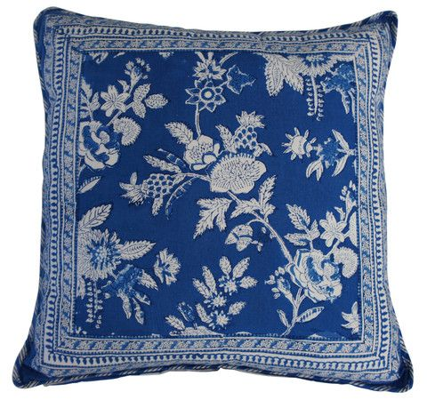 Printed natural cotton floral pattern cushion in blue with a decorative border design. The reverse is a ticking stripe design in the same colours.  Hand block printed in India using ethical and environmentally friendly construction that preserves and celebrates traditional artisan skills.  100% natural cotton cover with NZ made Polyfill inner.  Dimensions: 45cm x 45cm