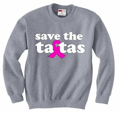 Save The Ta Tas Breast Cancer Sweatshirt Save The Ta Tas Breast Cancer Awareness T-Shirts are in stock at www.goneblue.com. #savethetatas #breastcancer #breastcancerawareness #breastcancertshirts #awareness #cancer #fashion #pink #pinkribbon #tshirts #hoodies #sweatshirts #tshirt #awareness