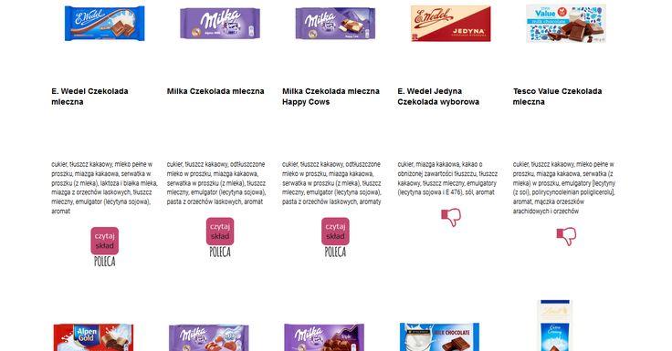 Czytamy skład i porównujemy etykiety produktów Czekolada mleczna. Zobacz skład i polecane produkty przez Czytaj Skład