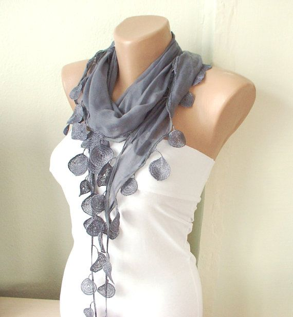 Grey sky grey Cotton Scarf with Lace-1 от Periay на Etsy