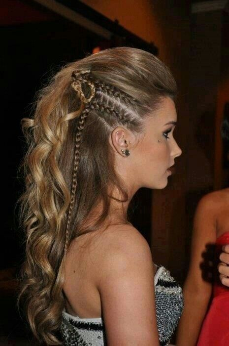 Hairstyle half updo: braids, waves or curls and a subtle ombre.
