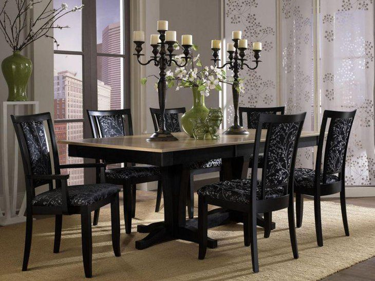 Elegant Rectangle Shaped Granite Top Dining Table Set Dining