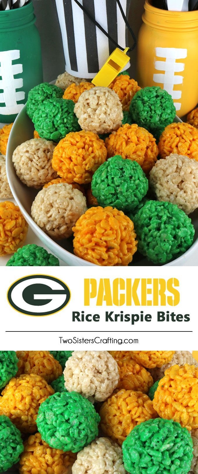 Green Bay Packers Rice Krispie Bites -  Yummy, bite-sized balls of crunchy, marshmallow-y delight.  This is a Football dessert that is easy to make and even better to eat.  These colorful and festive Green Bay Packers Treats are great for a game day football party, an NFL playoff party, a Super Bowl party or as a special snack for the Green Bay Packers fans in your life. Go Packers!  Follow us for more fun Superbowl Food Ideas.