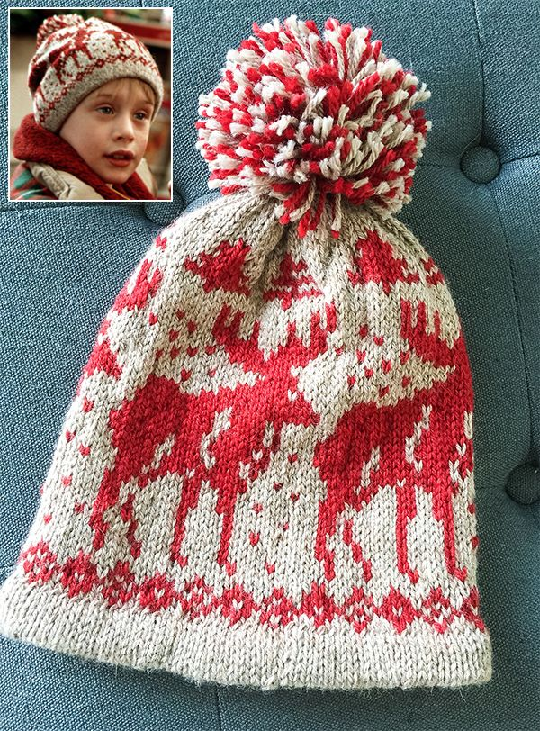 Free Knitting Pattern for Home Alone Moose Hat - Recreation of the hat that  Kevin McCallister wears in the Home Alone movie. The hat is a slouchy a0fb12036ed