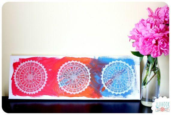Mandala Peinture originale sur Toile - Mandala original painting
