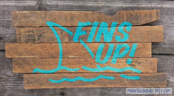 Fins Up Key West sign Jimmy Buffett music painting on reclaimed wood sign - Margaritaville - tiki bar