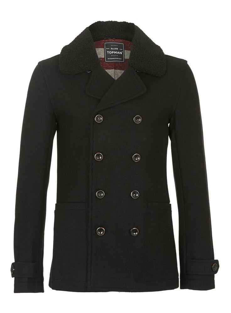 BLACK WOOL BORG PEA COAT - Men's Coats & Jackets - Clothing - TOPMAN