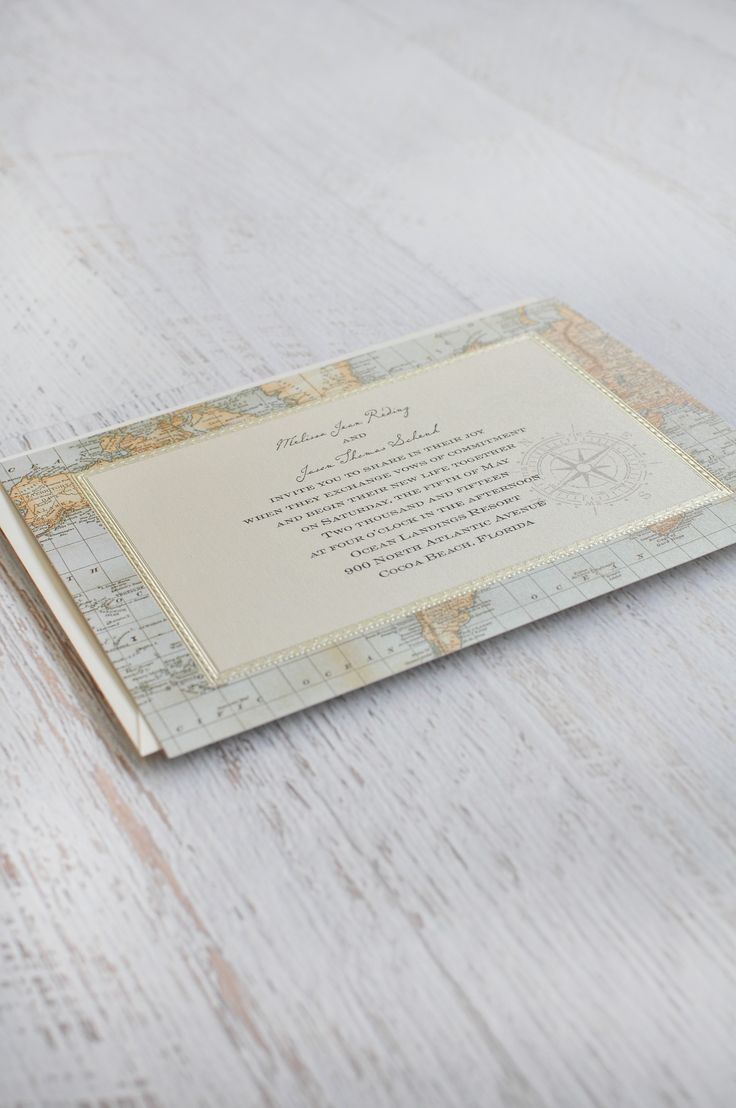 Your wedding bags for a grand getaway today s destination wedding - Vintage Map Themed Wedding Invitation Embossed Detail Shimmer Paper One Stunning Invitation For