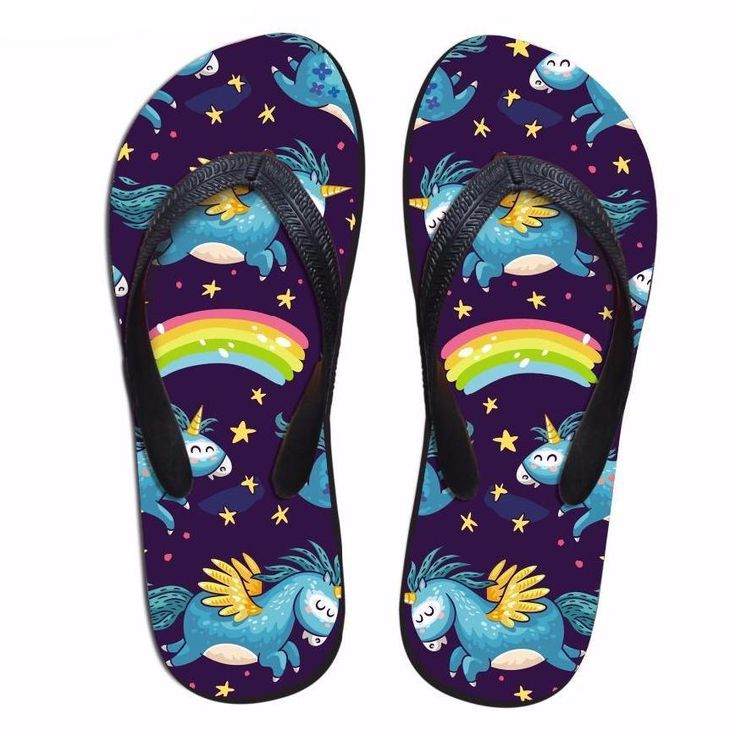 Women's Unicorn Rainbow Flip Flops Thongs