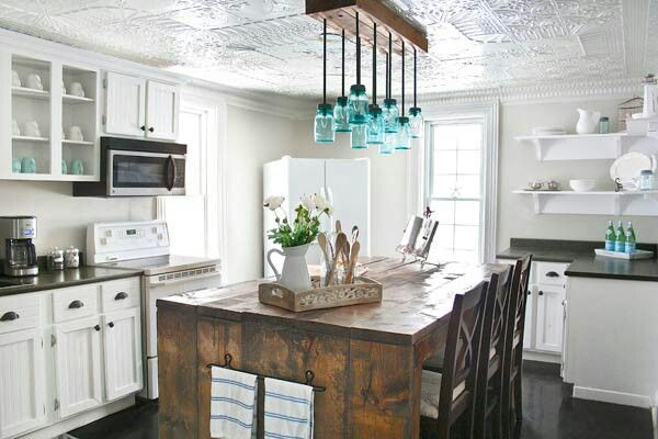 Rustic kitchen with mason jar fixtures decorating ideas for Mason jar kitchen ideas