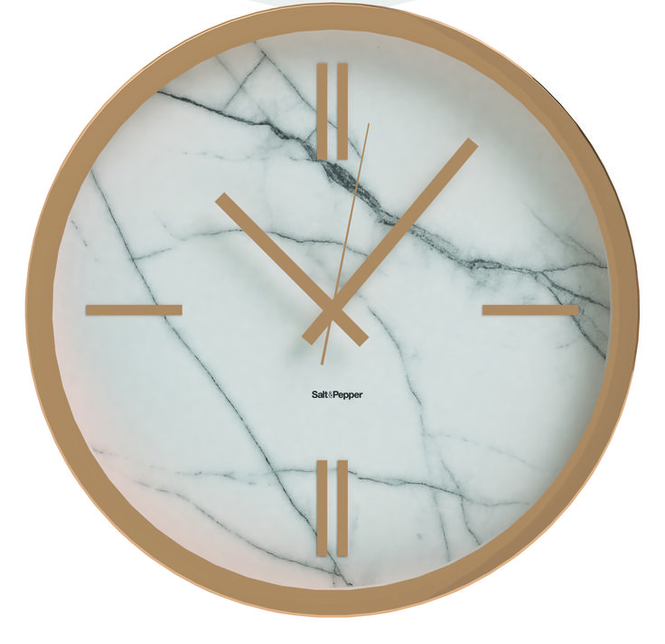 Salt Amp Pepper Marble 5cm Rose Gold Clock W Marble Look