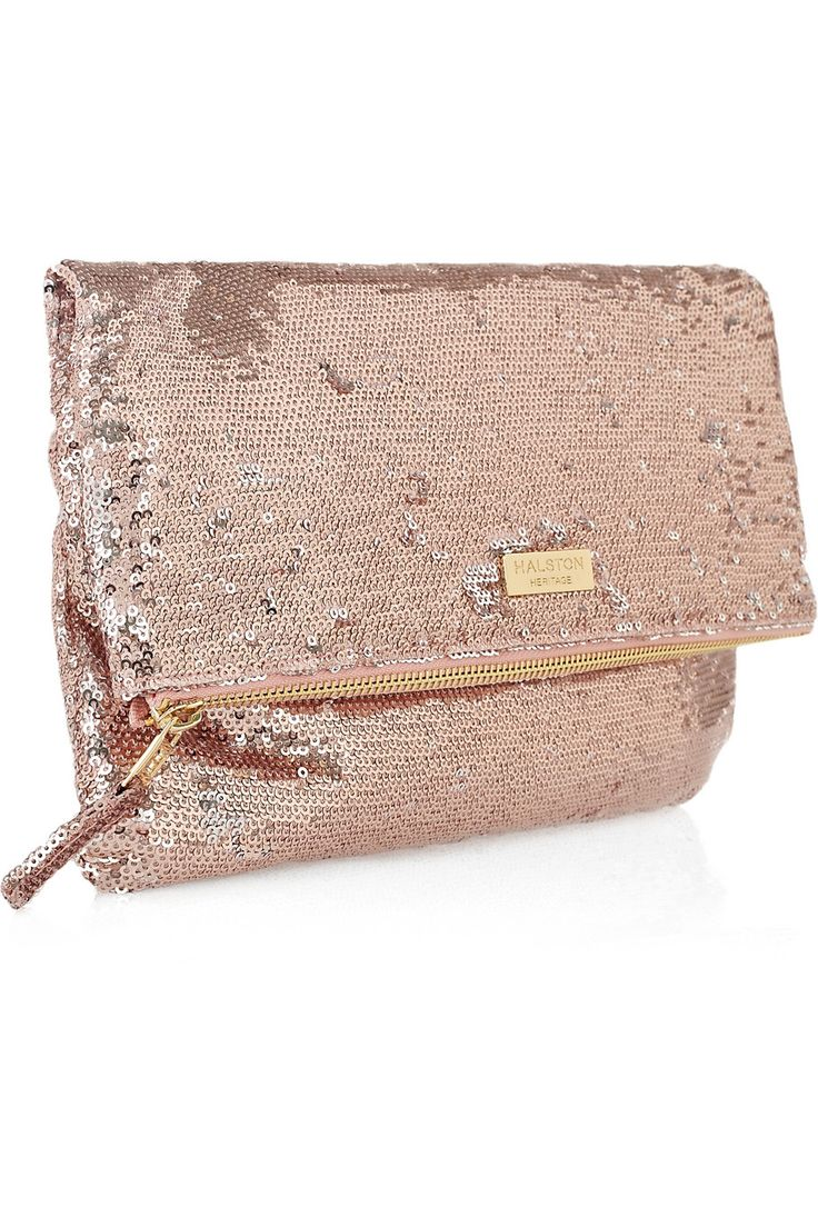 This rose gold sequin clutch would be perfect with a pair of jeans and cropped white tee... LOVE!