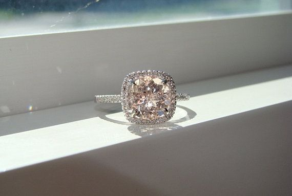 Jo's absolute favourite ring. Large Halo Peach Morganite Diamond Ring Gemstone by PenelliBelle, $1429.00