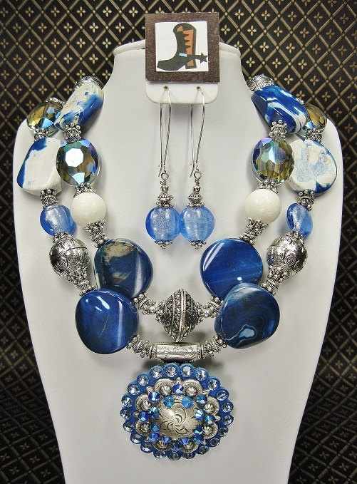 BLUE COWGIRL WESTERN Chunky Necklace with by CayaCowgirlCreations, $65.50