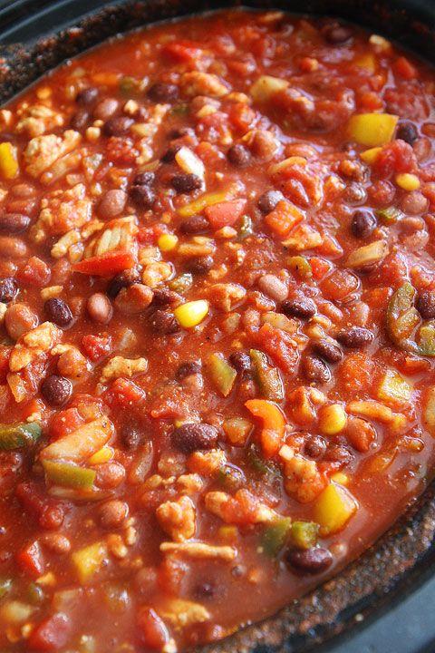 Slow Cooker Turkey Chili Recipe | Crockpot Chili Recipe | Two Peas & Their Pod