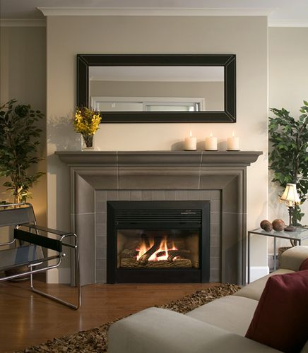 furniture idea 5 fireplace surround and decorating ideas fireplace surround ideas modern fireplace cast concrete mantel black leather mirror - Stone Fireplace Surround