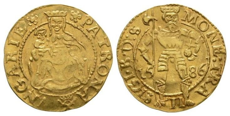 Dated 1586.. Hermannstadt mint. Obv: St. Ladislas standing, holding halberd, orb and cross with SIGI B D S MONE TRA legend. Rev: Madonna and Child with PATRONA VNGARIE legend. Fr. 295. 3.52 grams. .